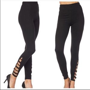 Ladder cut black leggings